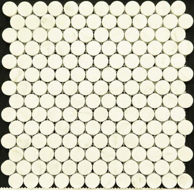 "Bianco Carrara Polished Penny Round 1"" Mosaic (BAY0043)"