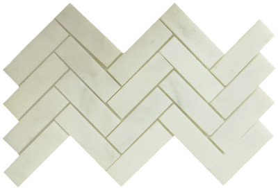 "Statuary Pearl Honed 1"" x 3"" Herringbone (BAY0127)"