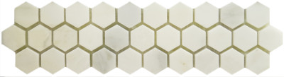 "Honed Statuary Calacatta Hexgon 1"" Mosaic (BAY0149)"