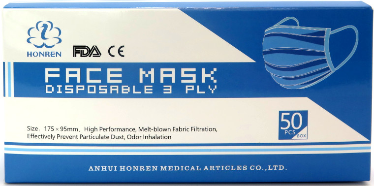 3-Ply Disposable Face Mask (Pack of 50) - Assorted