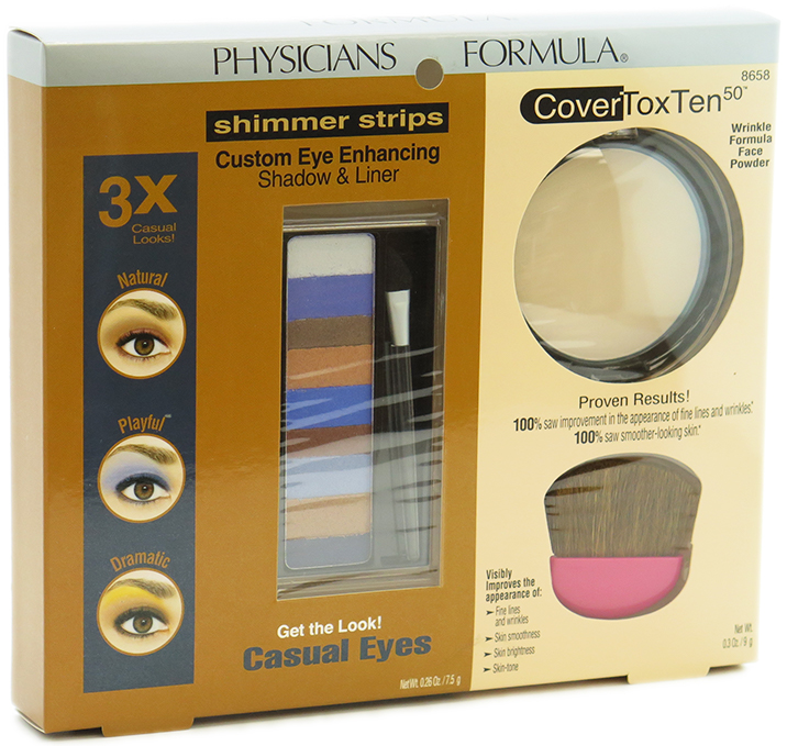 Physicians Formula Gift Set #8658 - set of 2 pieces: Shimmer Strips Custom Eye Enhancing Shadow & Liner + CoverToxTen 50