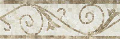 "Light Emperador & Botticino Marble Art Border Polished 4"" x12"" (SFD074)"