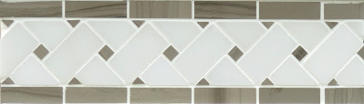 "Oyster Grey & Pure White Marble Basket Weave Border Polished 4"" x 12"" (SFD088)"