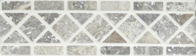 "Silver Travertine Classic Border With Silver Tumbled 4"" x 12"" (SFD141)"