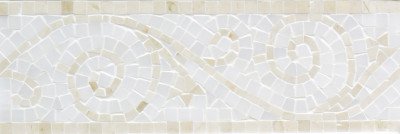 "Crema Marfil & Pure White Marble Art Border Polished 4"" x 12"" (SFD166)"
